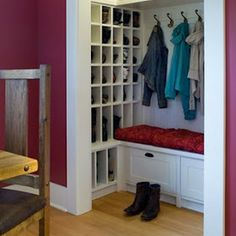 closet/mudroom/shoe storage. Love this, a place for boots too! So needed