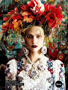 New flowers fashion photography frida kahlo ideas Floral Fashion, Fashion Art, Editorial Fashion, Casco Floral, Portrait Photography, Fashion Photography, Photography Flowers, Editorial Photography, Tableaux Vivants