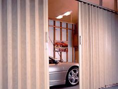 Residential Woodfold Vinyl Folding Doors to partition a garage #accordion #hardware #specialty #custom explore specialtydoors.com