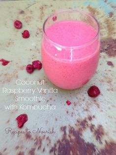 Coconut Raspberry Vanilla Smoothie with Kombucha ... creamy + tangy with sweet hints of vanilla ... this smoothie is so delicious + it's full of gut supporting probiotics and collagen for extra nutrition {vegan option} | Recipes to Nourish