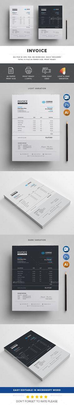 Invoice Business design, Letterhead and Font logo - invoice logo