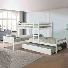 3 Bunk Beds, L Shaped Bunk Beds, Bunk Bed Rooms, Bunk Beds Built In, Bunk Bed With Trundle, Kid Beds, Unique Bunk Beds, Bunk Beds Small Room, Bunk Bed Plans