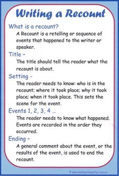Writing a Recount Cheat Sheet English - Writing Talk 4 Writing, Recount Writing, Writing Genres, Writing Strategies, Writing Lessons, Writing Process, Writing Workshop, Kids Writing, Teaching Writing