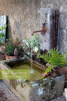Small Gardens, Small Garden Ponds, Back Gardens, Water Garden, Outdoor Gardens, Diy Water Feature, Backyard Water Feature, Garden Gates, Garden Art