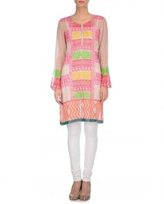 Blush Tunic with Multicolored Floral Prints - Kavita Bhartia