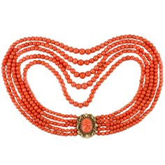 Victorian Five-Row Coral Necklace with Cameo Clasp, 1870s