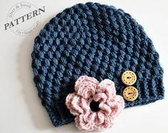 CROCHET PATTERN - Little Puffs Beanie with Detachable Flower (Newborn-Adult Sizes) pdf #014H Flower Hat Button Hat