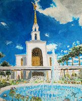 """Sao Paulo, Brazil LDS Temple.  Acrylic on canvas 8"""" x 10"""" prints and digital downloads only available."""