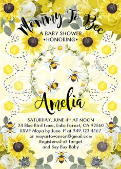 Bumble Bee Baby Shower Invitation Bee Invitation Bumble Bee #bumblebeebabyshowerideasinvitations
