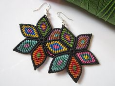Multicolored Flowers Macrame Earrings by PapachoCreations on Etsy