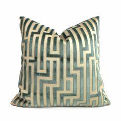 GP & J Baker Lee Jofa Fretwork Teal Beige Greek Key Maze Cut Velvet Pillow Cover