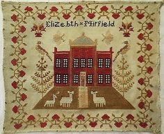 A Christmas Sampler???  19TH-CENTURY-RED-HOUSE-SAMPLER-BY-ELIZEBTH-MIRFIELD-c-1860-1870
