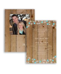 Rustic Posies Invitation by David's Bridal: Whimsical posy flowers decorate this rustic wedding invitation with magical charm!