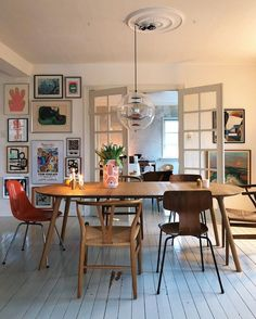 dining room style inspiration | gallery wall ideas | mismatched chairs and french doors