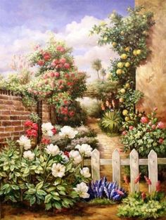 gartenlandschaft Belle Image Nature, Belles Images, Painting & Drawing, Watercolor Paintings, One Stroke Painting, Landscape Paintings, Art Pictures, Home Art, Beautiful Paintings