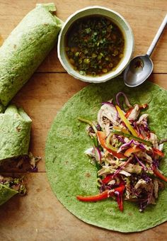 healthy summer recipe - ginger scallion chicken wraps
