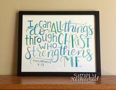 Philippians 4:14 - Original watercolor scripture art by SimplyRedeemedStore on Etsy https://www.etsy.com/listing/399154477/philippians-414-original-watercolor