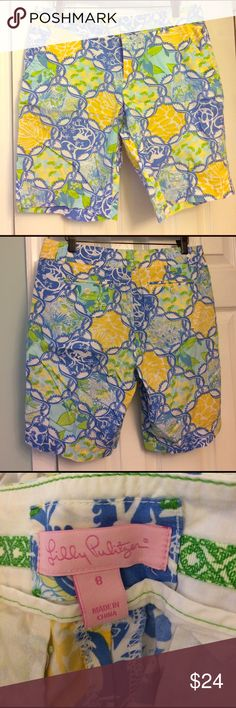 Lilly Pulitzer shorts 8 Lilly Pulitzer bermuda shorts. Size 8. EUC. Bundle for discount.  16 in waist. 10in inseam. Lilly Pulitzer Shorts Bermudas