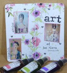 jehkotar: Traveler´s Notebook spread: Jan Neva Travelers Notebook, Atc, Layouts, Studios, Canvas, Artist, Tela, Artists, Canvases