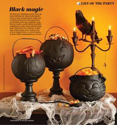 Really like these, spray paint plastic pumpkins and serve treats in them