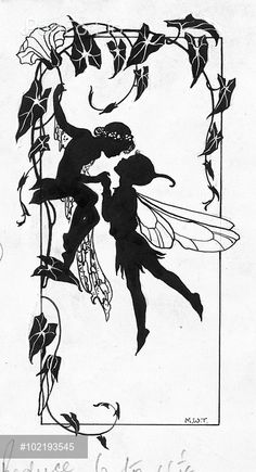 'The Kiss' - two fairies - silhouette.