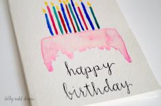 Happy Birthday Cake & Candles Card - Watercolor - Original Handmade - Card for Birthday - Greeting Card - Handprinted watercolor card