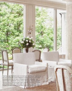 """Milieu magazine describes Gerrie Bremermann as """"the grande dame of the New Orleans design scene."""" She has an ability to make formal, elegan. Swedish Interiors, French Style Homes, Slipcovers For Chairs, White Rooms, Beautiful Space, Home Decor Furniture, Beautiful Interiors, Interior Inspiration, Interior Ideas"""