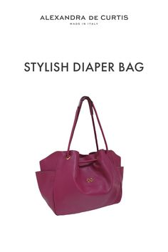 Are you looking for a stylish leather diaper bag? Click through to check out this designer diaper bag handmade in Italy! Alexandra de Curtis #leatherbags #designerleatherbag #diaperbag Italian Leather Handbags, Designer Leather Handbags, Leather Diaper Bags, Italian Street, Red Handbag, How To Make Handbags, One Bag, Italian Fashion, Leather Design