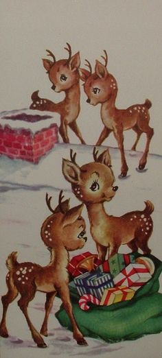 UNUSED - Darling Little Fawns on Rooftop Vintage Christmas Greeting Card in Collectibles, Paper, Vintage Greeting Cards, Christmas Christmas Post, Christmas Scenes, Christmas Deer, Retro Christmas, Xmas, Christmas Villages, Victorian Christmas, White Christmas, Flower Crowns