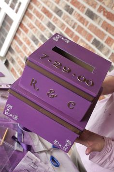 Final Product - This card box was inspired by purple and brown and a rustic theme. Your card box can be as fancy as you would like it. This one is a bit more simple. Diy Card Box, Rustic Theme, Diy Projects, Fancy, Wallet, Inspired, Purple, Brown, Cards