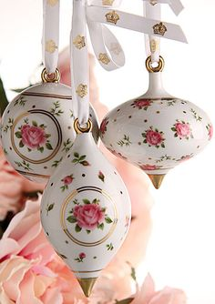 Royal Albert New Country Roses White Ornaments, Set of 3