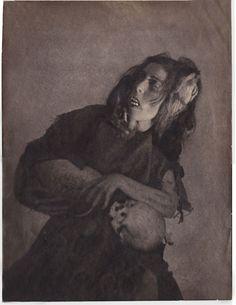 "William Mortensen, ""Woman with Skull"" (ca. 1926), bromoil transfer borderless doubleweight"