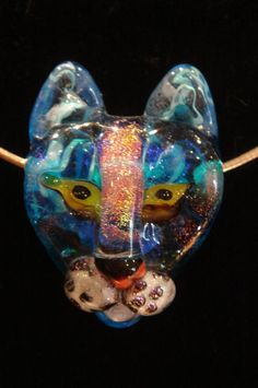Flameworked Glass Blue Cat Pendant  by Markels www.divingcatstudio.com
