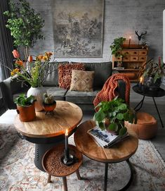 Room redo Green nature inspired dark Bohemian living room is part of Bohemian Living Room Green - I love the vintage pieces used in this interior look with the different rustic coffee tables and vintage rug Bohemian Living Rooms, Living Room Green, Living Room Interior, Home And Living, Modern Living, Earthy Living Room, Brown Living Rooms, Burnt Orange Living Room, Living Room Decor Orange
