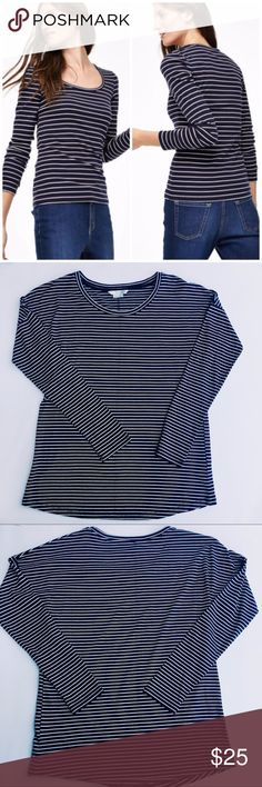 """NWOT Boden Brenton Tee Boden Long Sleeve Breton Tee. Size 2. New without tags! Navy and Ivory horizontal stripes. Full length sleeves. Semi-fitted. Super soft Cotton blend. Length finishes at low hip and measures approx. 26"""". Perfect staple piece for any wardrobe! Boden Tops Tees - Long Sleeve"""