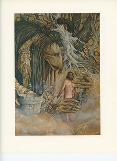 Forest Creatures, Holding A Naked Man, Brian Froud, Printed In America, Antique Children Print, Once Upon A Time