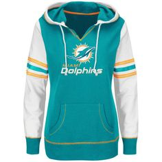 Women's Miami Dolphins Majestic Aqua Obsession Pullover Plus Size Hoodie