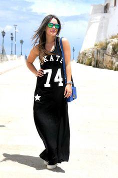 Vestito nero lungo sportivo palermo