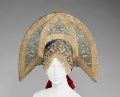 Headdress Date: early 19th century Culture: Russian Medium: silk, glass, semi-precious stones, metal, cotton, mother-of-pearl The Metropolit...