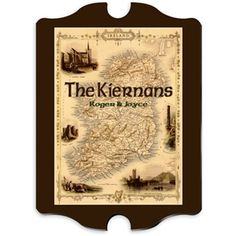 Shop for personalized Irish vintage map family sign. Help them show their Irish pride with this stunning personalized map of the Emerald Isle. Ireland Map, Pub Signs, Wood Signs, Irish Celtic, Family Name Signs, Personalized Signs, Vintage Signs, Vintage Decor, Vintage Style
