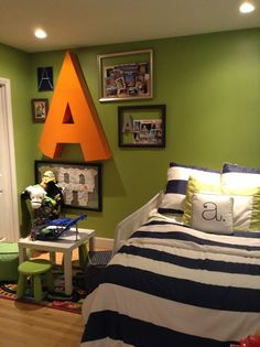 Crafty Mama Serena and lily  Big boy room Green, navy, white, orange Big letter