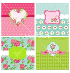 Set of floral card - floral shabby chic theme vector by woodhouse84 on VectorStock®
