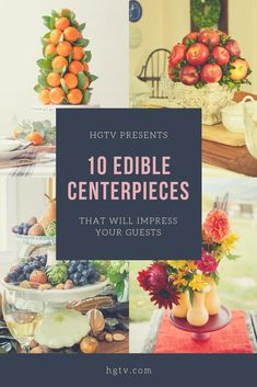 Whether you're looking to spruce up a Thanksgiving table or to make a small gathering more exciting, check out these 10 deliciously dazzling displays. Edible Centerpieces, Thanksgiving Centerpieces, Thanksgiving Table, Fun Ideas, Party Ideas, Throw A Party, Party Entertainment, Diy Decorating, Savoury Dishes