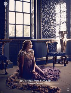 Rapunzel from Tangled by Jenny Packham, at Harrods november editorial. Disney Princesses by fashion designers.