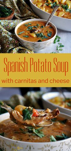 This creamy, richly spiced soup is simple comfort food at its best. Potatoes are cooked until deliciously tender in a broth flavored with onion, red pepper, garlic, cumin, oregano, and paprika before adding sour cream, cheese, and pork carnitas. #soup #dinnerrecipes