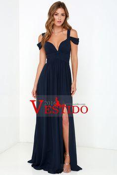 f55a53a6eb 2016 Una línea V Neck Dress Prom correas barrer / cepillo tren con  hendidura y gasa. VestidosV Cuello Vestidos De FiestaVestidos ...