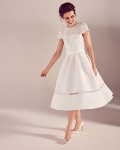 Lace bodice midi dress - Ivory | Dresses | Ted Baker