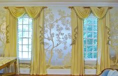 Traditional Window Treatment, Swags & Tails Curtains shown in a cream silk taffeta fabric and available in over 55 other colors.  Contact us for your custom made curtains.  We offer measure and installation service or just give us your window sizes and we will ship directly to you here in the US or overseas.  212 889 1917 info@thundersleyhomeessentials.com