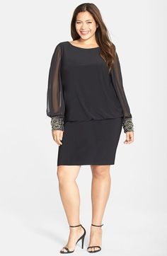 Free shipping and returns on Xscape Embellished Cuff Jersey Blouson Dress (Plus Size) at Nordstrom.com. Opulently jeweled cuffs gathering the billowy, slit sleeves take this fluid matte-jersey dress around the clock with glam style. The bateau-neck cut undeniably flatters with a blousy bodice over a slim, short skirt.