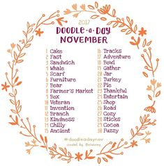Hey friends! The Doodle a Day November list is here!! If you're new to the challenge, welcome! Feel free to jump in whenever you like! Use this list as your daily drawing inspiration. Be sure to tag your doodles with #doodleadaynov so we can all see each other's work. Tag a creative friend or repost the list on your own feed! This is a fun exercise to work the right side of the brain. Have fun and don't worry about being perfect! You get mega points just for trying  Happy doodling! ✏️